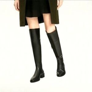 Zara Tall Over knee Black leather boots